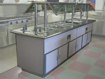 Buffet Table With Glass Sneeze Guard